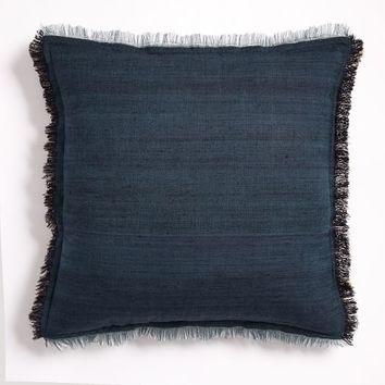 Textured Silk Fringe Pillow Cover - Shadow Blue