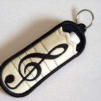Keychain and Chapstick Holder Musical Note Custom Embroidery