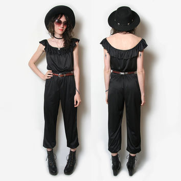 70s 80s Sexy Black Romper // One Piece // 1980s 1970s  // JumpSuit // 70s One piece // Foxy Lady
