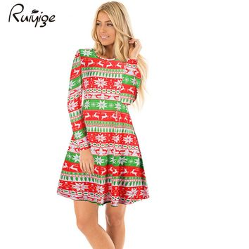 Ruiyige 2017 Autumn Women Christmas Cartoon Mini Dresses Casual Printed Full Sleeves O-Neck Tunic Stretch Santa Party Vestidos