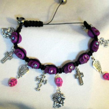 Day of the Dead Bracelet, Día de Muertos, Halloween Skull Jewelry, Handmade Purple/ Pink Sugar Skulls, Swarovski Crystal Eyes, OOAK