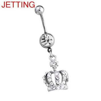 ac DCCKO2Q Belly Button Ring Women Imperial Crown Navel Surgical Steel Bar Silver Color Body Piercing Jewelry