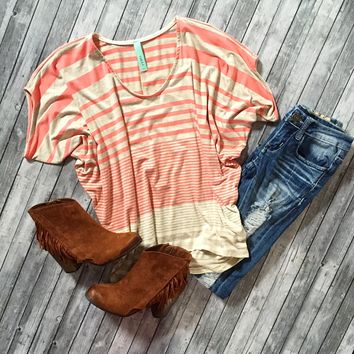 Stripe Out Color Block Dolman Top