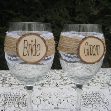 Rustic Wedding Bride and Groom Wine Glasses Mr and Mrs