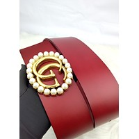 GUCCI female models new simple high-end wild smooth buckle belt red