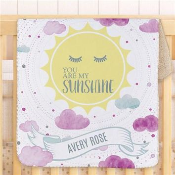 Personalized You Are My Sunshine Sherpa Baby Blanket ~ Pink/Purple
