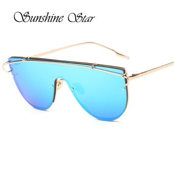 Pop Age New Oversized Flat Top Women Sunglasses Fashion Korea Brand Designer Steampunk Sun Glasses Mirror Lentes de sol