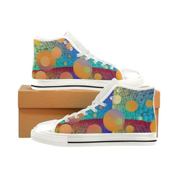 colorful circles Men's Classic High Top Canvas Shoes (Model 017) | ID: D2688600