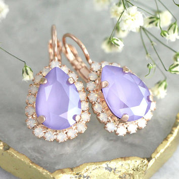Lavender Earrings, Bridal Purple Drop Earrings, Bridal Lilac Earrings, Bridesmaids Earrings, Gift For Her, Light Purple Crystal Earrings