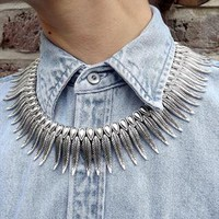 Silver feather collar necklace from Smoking Gun Vintage