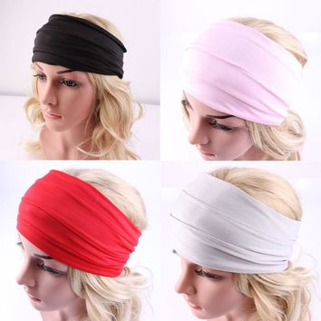 1 PC Women Hair Accessories Wide Sports Yoga Headband Stretch Hairband Elastic Hair Band Turban Running Dance Biker Headwrap