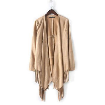 Spring Autumn Long Faux Suede Jacket Coat Loose Fringe Design Cape and Poncho Leather Jackets Coats Female Outerwear Cardigans