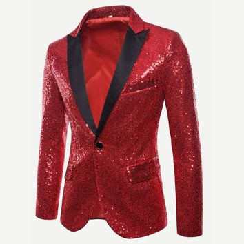 Mens Red Sequin Blazer with Black Lapel