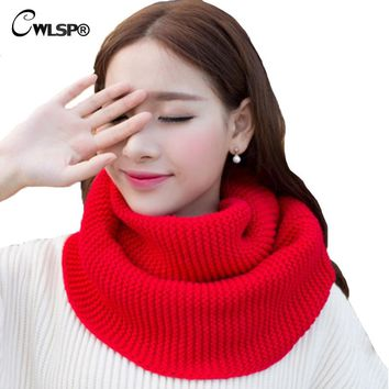CWLSP Winter Knitted Sweater Scarves New Fashion Lovers Wool Collar Neck Crochet Ring Loop Scarf QZ1827
