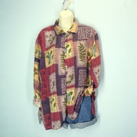 Vintage 80s Silk Blouse / Abstract Blouse / Slouchy Blouse / Fresh Prince Shirt