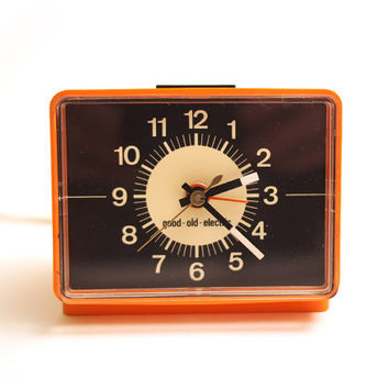 Retro Dark Orange Alarm Clock. Good Old Electric brand. Made in Germany.