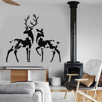 Vinyl Wall Decal Forest Deer Family Abstract Leaves Animals Stickers (2749ig)