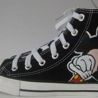 Hand Painted Mickey Mouse On Black Converse Shoes COP10