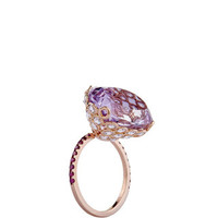 One of a Kind 18K Rose Gold Ring with Amethyst