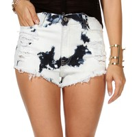 Sale-lt. Denim Bleached Destructed Shorts