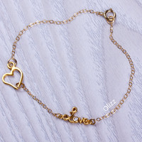 Love bracelet / Heart bracelet / Gold heart bracelet / Anniversary gift / Love you to the moon and back / Gold charm bracelet | 0071BM