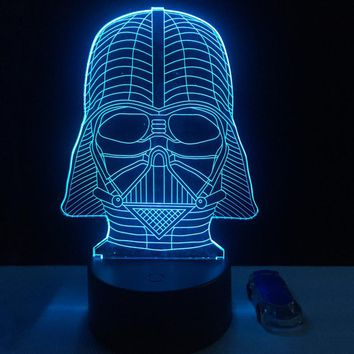 Cartoon Star Wars Vader 3D LED USB RGB Lamp 7 Color Changing Black Knight Lampada Table Night Light Boy Decor Gifts Lava Blubing