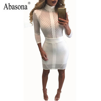 New Arrival 2017 Winter Sexy Bandage Bodycon Party Dresses Turtleneck Long Sleeve Elegant White Sheer Mesh Lace Dress