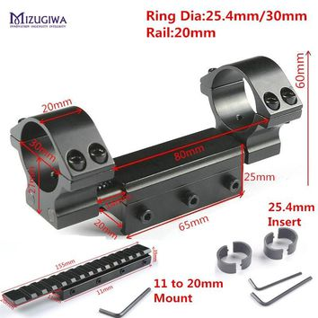Tactical Dual Rings 25.4mm/30mm w/Stop Pin 20mm Flexible Mount Rings Picatiiny Dovetail Weaver +11mm to 20mm Mount  Rifle Scope