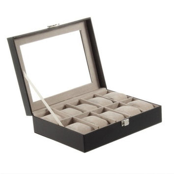 New Arrival PU Leather 10 Slots Watch Display Box Storage Holder Organizer Case Hot Selling [9305892871]