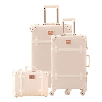 2019 Vintage Suitcase Carry On luggage Hardside Rolling Spinner Retro Style for Travel suitcase