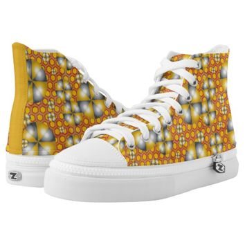 Circles Pattern on a Honeycomb Background High-Top Sneakers
