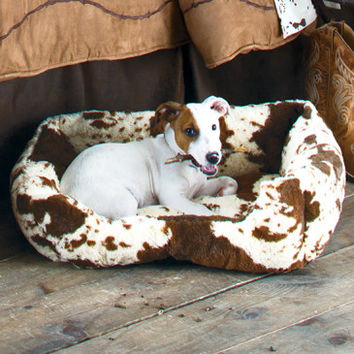 Ultra-Plush Fleece Cowprint Dog Bed - Dog - Stable Needs - Tack