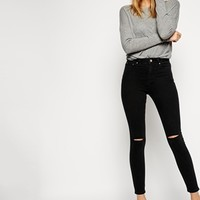 ASOS Ridley Skinny Ankle Grazer Jeans in Washed Black with Displaced Knee Rips