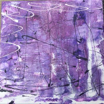 Purple Winter Ice Pond Abstract Art painting Canvas