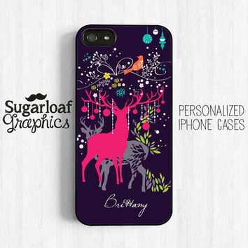 Colorful Holiday Christmas Reindeer iPhone 5 case personalized First Name iPhone plastic or silicone rubber Samsung galaxy S3 S4 Am34