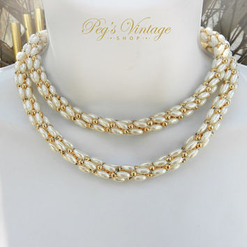 Vintage Pearl Necklace, Braided Faux Pearl & Gold Bead Wedding/Bridal Necklace
