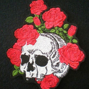Large Embroidered Sugar  Skull and Roses Iron-On Patch, Sew On , Skeleton, Day of the Dead, Gothic, Biker Patch, Lovers Patch