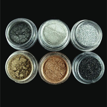 Eyeshadow Make Up pigment Glitter Smoky Eye Version 6pcs