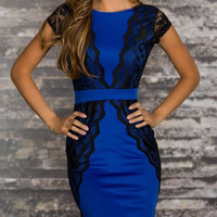 Blue Floral Lace Top Bodycon Dress