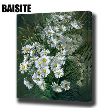 BAISITE DIY Framed Oil Painting By Numbers Flowers Pictures Canvas Painting For Living Room Wall Art Home Decor E806