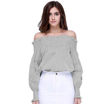 Heather Off the Shoulder Shirts
