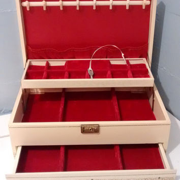 Jewelry Box, Mele, Vintage, Large, Ivory, Gold, Red