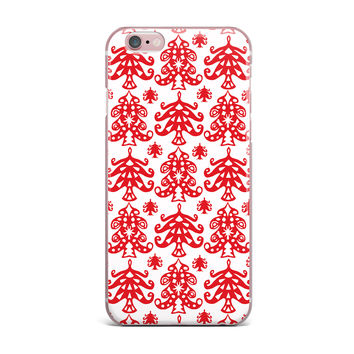 "Miranda Mol ""Ornate Trees White"" Red Holiday iPhone Case"
