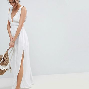 ASOS Grecian Plunge Maxi Woven Beach Dress at asos.com