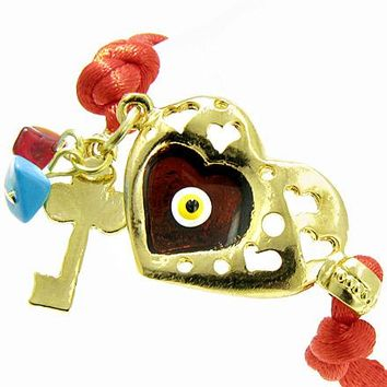 Handcrafted Amulet Evil Eye Protection Heart Red Enamel Bracelet