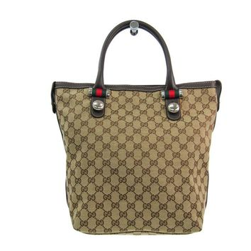 Gucci Sherry Line 232970 Women's GG Canvas Leather Tote Bag Beige,Brown BF309992