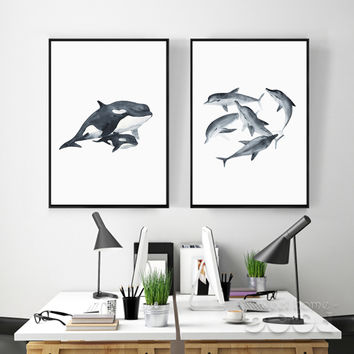 Watercolor Whales Canvas Art Print Painting Poster,  Wall Pictures for Home Decoration, Giclee Print Wall Decor S16017