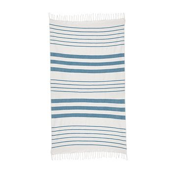 Striped Cotton Beach & Bath Towel - Peacock Teal