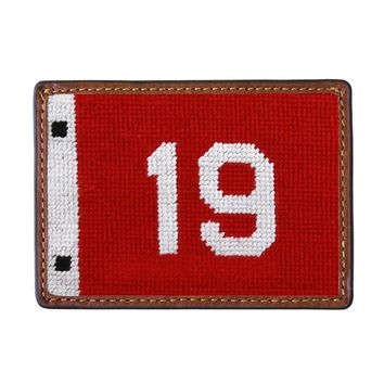 19th Hole Pin Flag Needlepoint Credit Card Wallet by Smathers & Branson