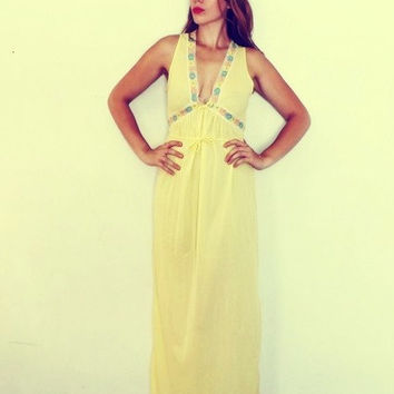 Vintage 1960s 70s Yellow Floral Lingerie Long Avian Nightgown Nylon Gown Boudoir Fashion Hollywood Glamour Sundress Mad Men Pin Up Girl